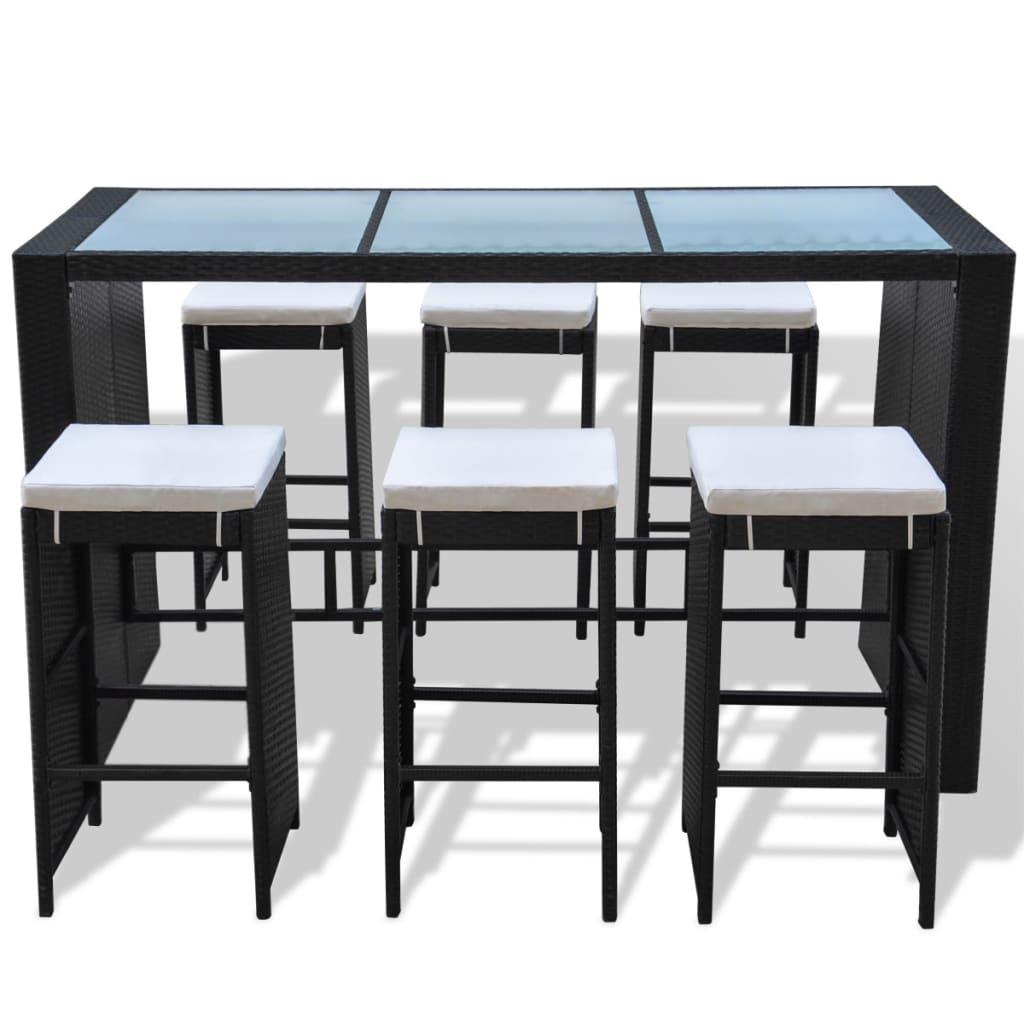 vidaxl 13 pezzi set bar da giardino in poly rattan nero. Black Bedroom Furniture Sets. Home Design Ideas