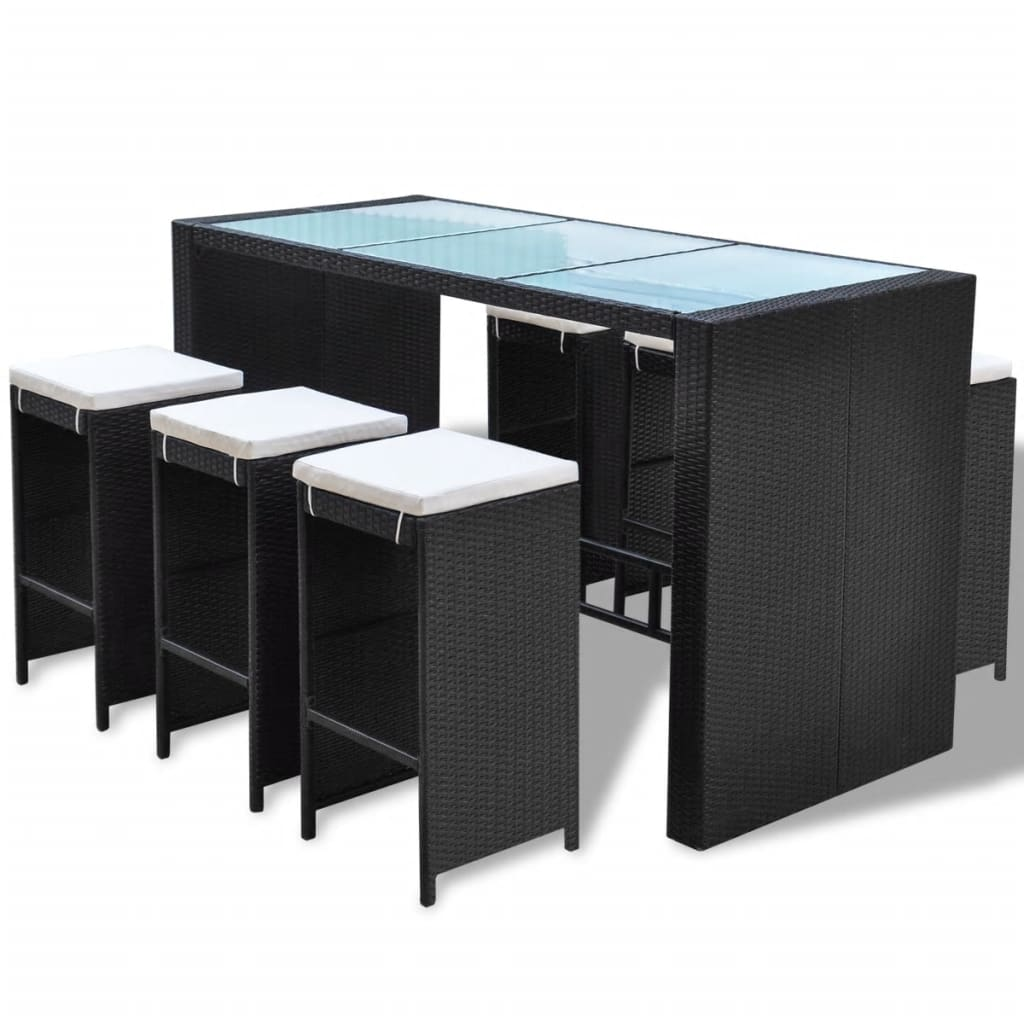 vidaxl barset 13 tlg poly rattan gartenm bel bartisch mit barhocker barstuhl ebay. Black Bedroom Furniture Sets. Home Design Ideas