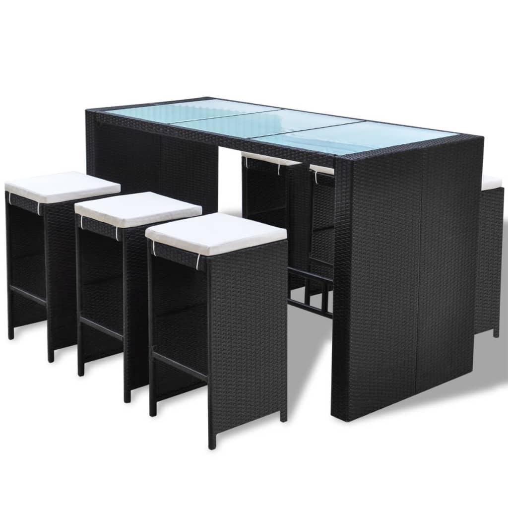 vidaxl 13 delige tuin bar set poly rattan zwart. Black Bedroom Furniture Sets. Home Design Ideas