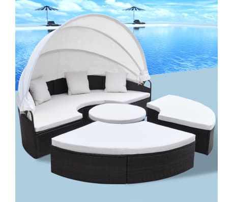 outdoor rattan patio sofa sun bed set w canopy daybed. Black Bedroom Furniture Sets. Home Design Ideas