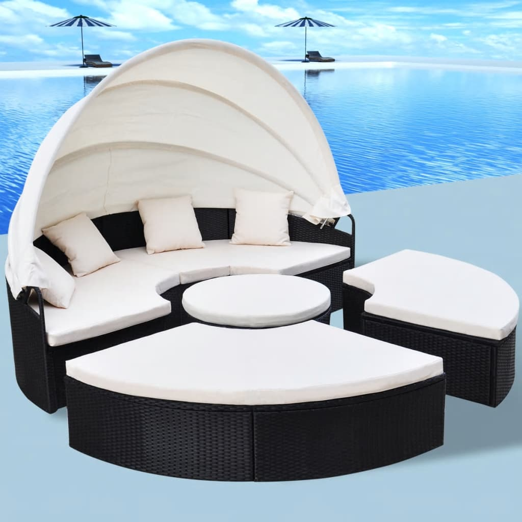 acheter vidaxl bain de soleil rond en rotin synth tique. Black Bedroom Furniture Sets. Home Design Ideas