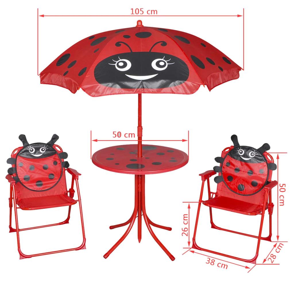 Vidaxl set mobili da giardino per bambini 4 pezzi rosso for Set mobili da giardino