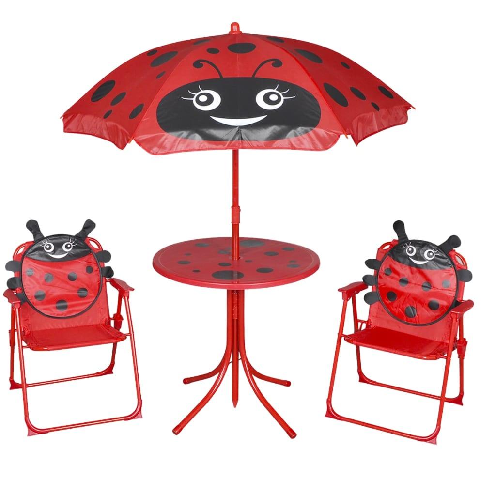 vidaXL Dziecięcy zestaw mebli do ogrodu, z parasolem, czerwony