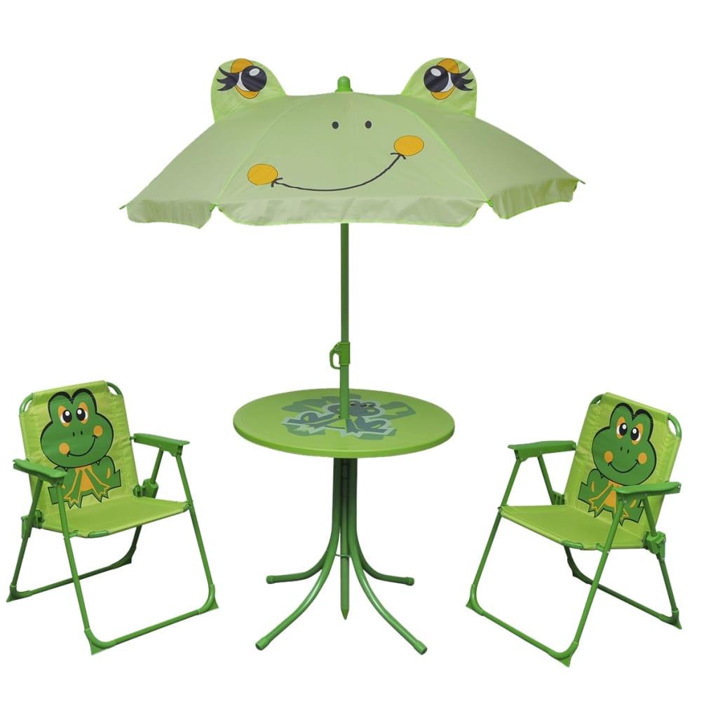 4tlg campingstuhl tisch sitzgruppe sonnenschirm kinder gartenm bel k fer froggy ebay. Black Bedroom Furniture Sets. Home Design Ideas