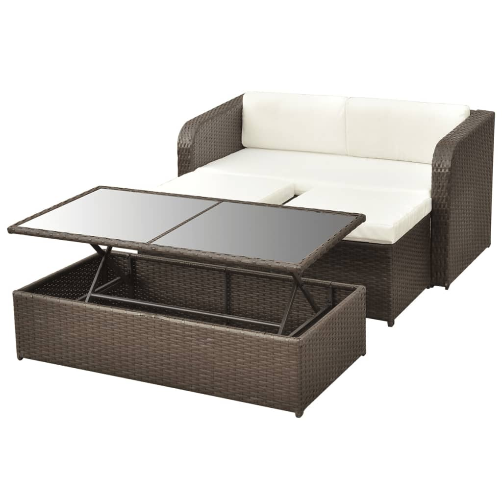 vidaxl 9 tlg gartenm bel lounge set sofa set poly rattan. Black Bedroom Furniture Sets. Home Design Ideas