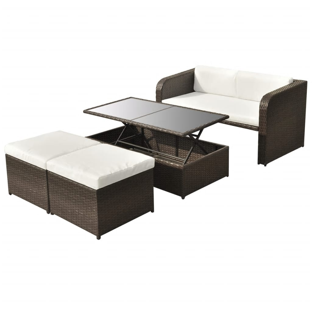 vidaxl 9 tlg gartenm bel lounge set sofa set poly rattan braun g nstig kaufen. Black Bedroom Furniture Sets. Home Design Ideas