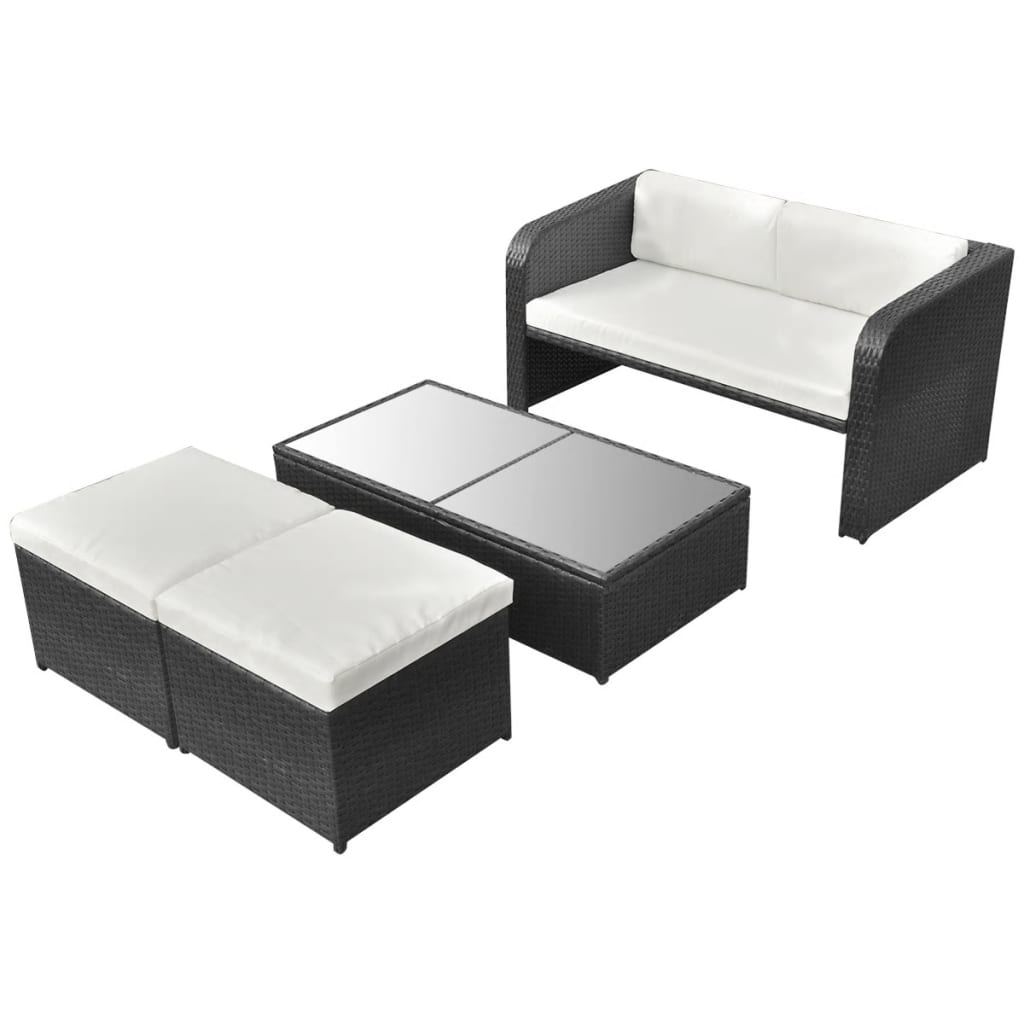 vidaxl lounge en eethoek in 1 voor buiten poly rattan. Black Bedroom Furniture Sets. Home Design Ideas
