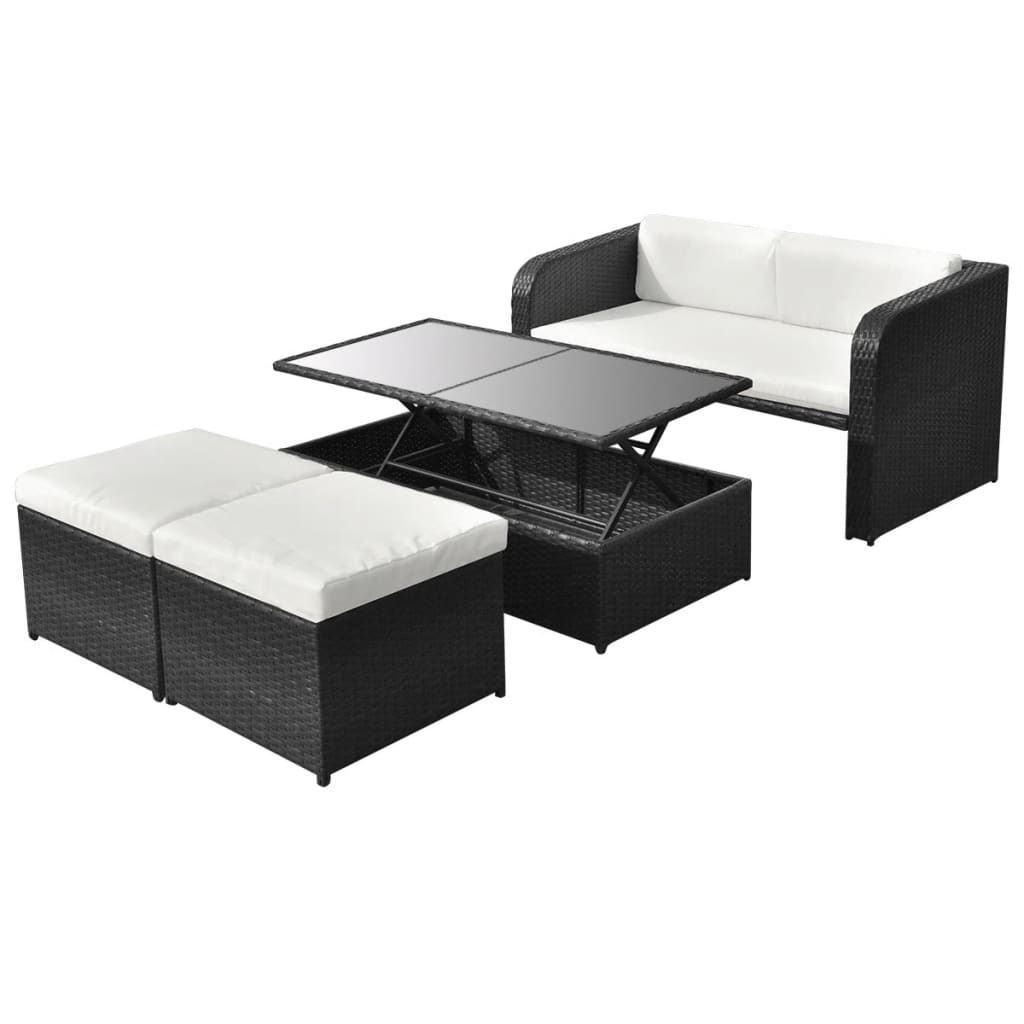 vidaxl 9 tlg gartenm bel lounge set sofa set poly rattan schwarz g nstig kaufen. Black Bedroom Furniture Sets. Home Design Ideas
