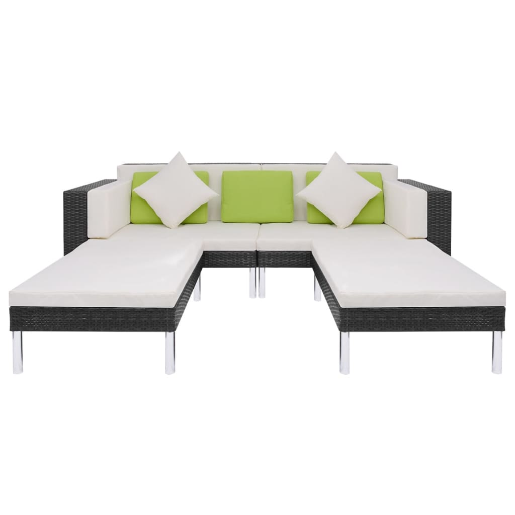 acheter vidaxl mobilier de jardin 17 pi ces en poly rotin noir pas cher. Black Bedroom Furniture Sets. Home Design Ideas