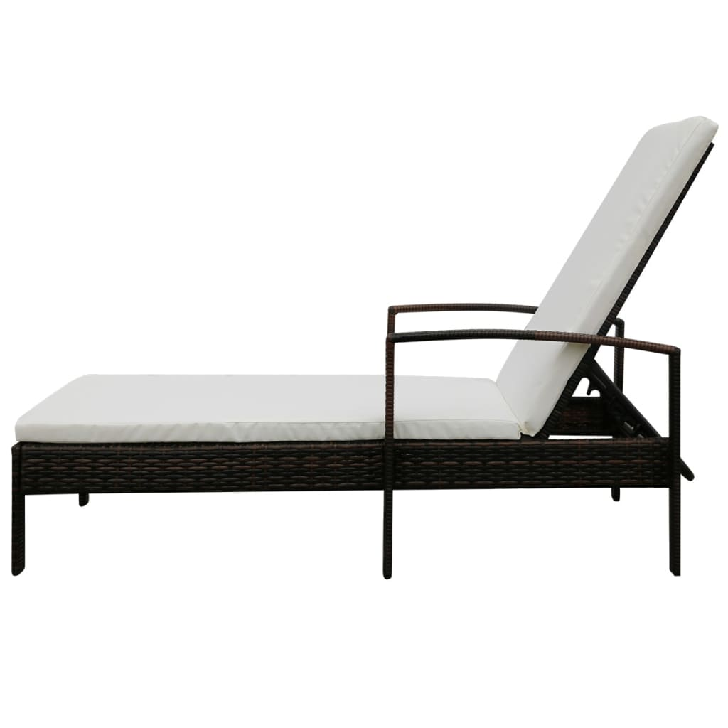 la boutique en ligne vidaxl chaise longue en rotin synth tique marron. Black Bedroom Furniture Sets. Home Design Ideas