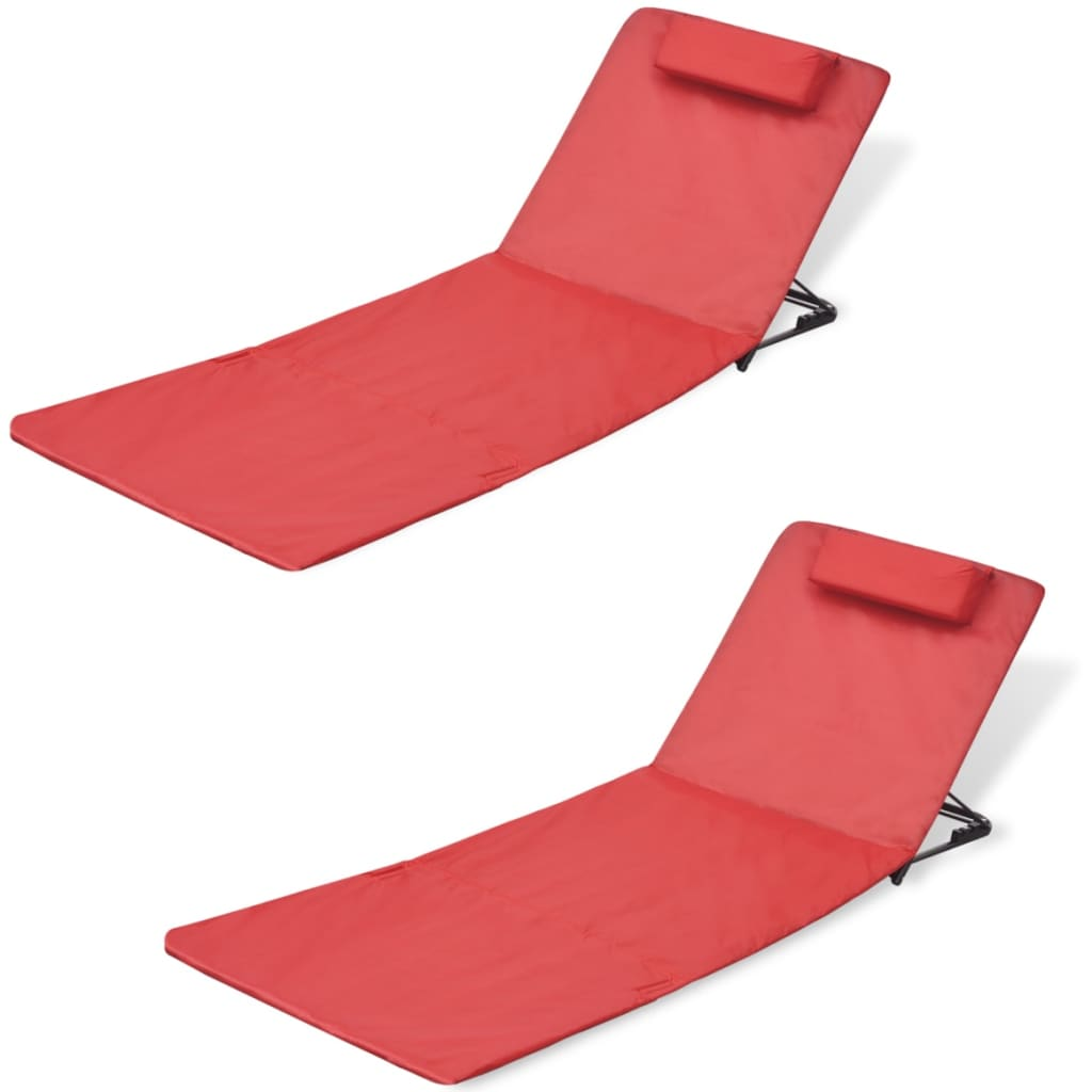 acheter vidaxl tapis de plage pliable avec dossier 2 pcs rouge pas cher. Black Bedroom Furniture Sets. Home Design Ideas