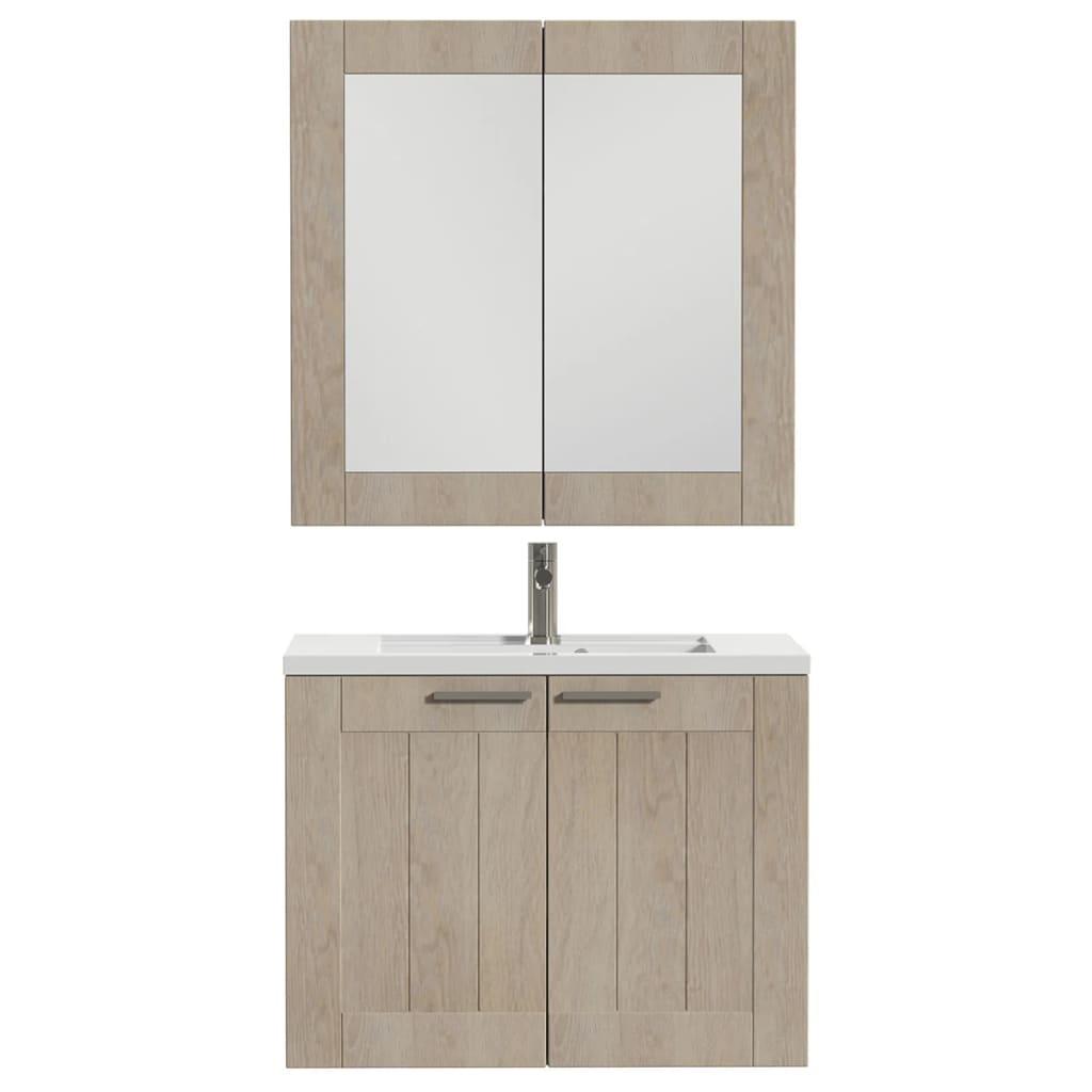 Afbeelding van Tiger Badkamer meubelset Frames 80 cm eikenhout wit 1646323750