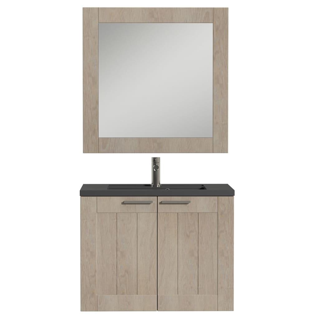 Afbeelding van Tiger Badkamer meubelset Frames 80 cm eikenhout zwart 1646423740