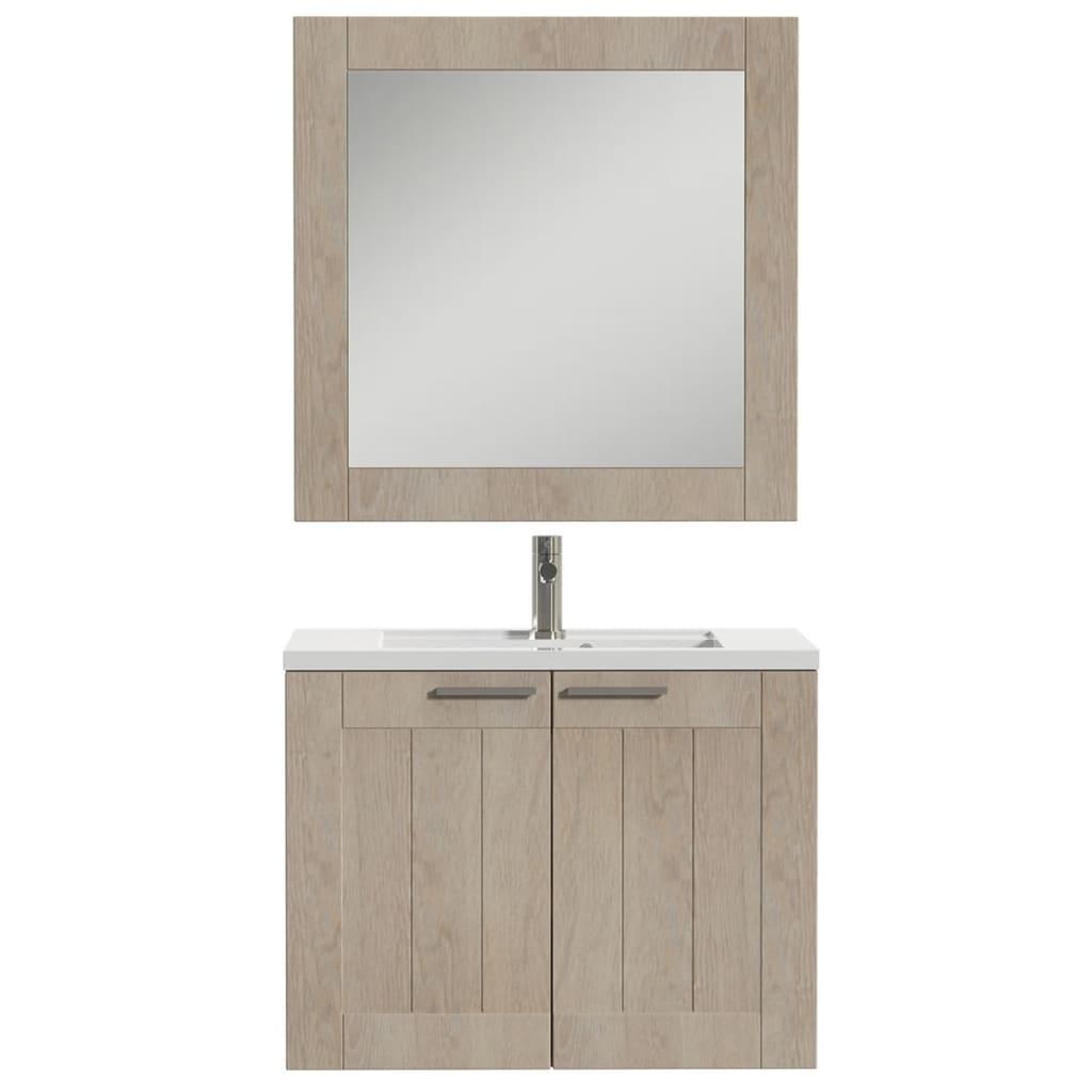 Afbeelding van Tiger Badkamer meubelset Frames 80 cm eikenhout wit 1646323740