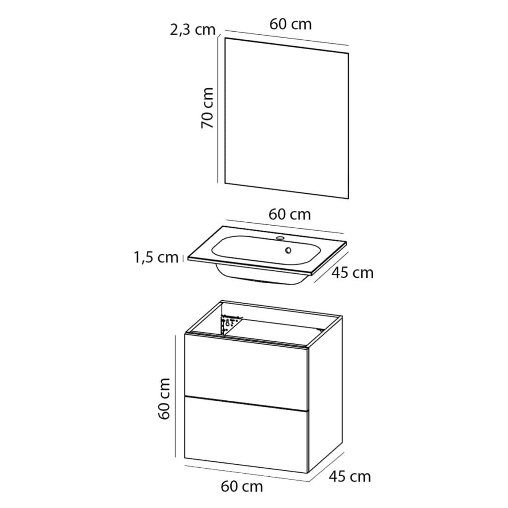 Acheter tiger jeu de meuble de salle de bain loft 60 cm for Meuble de salle de bain 60 cm pas cher