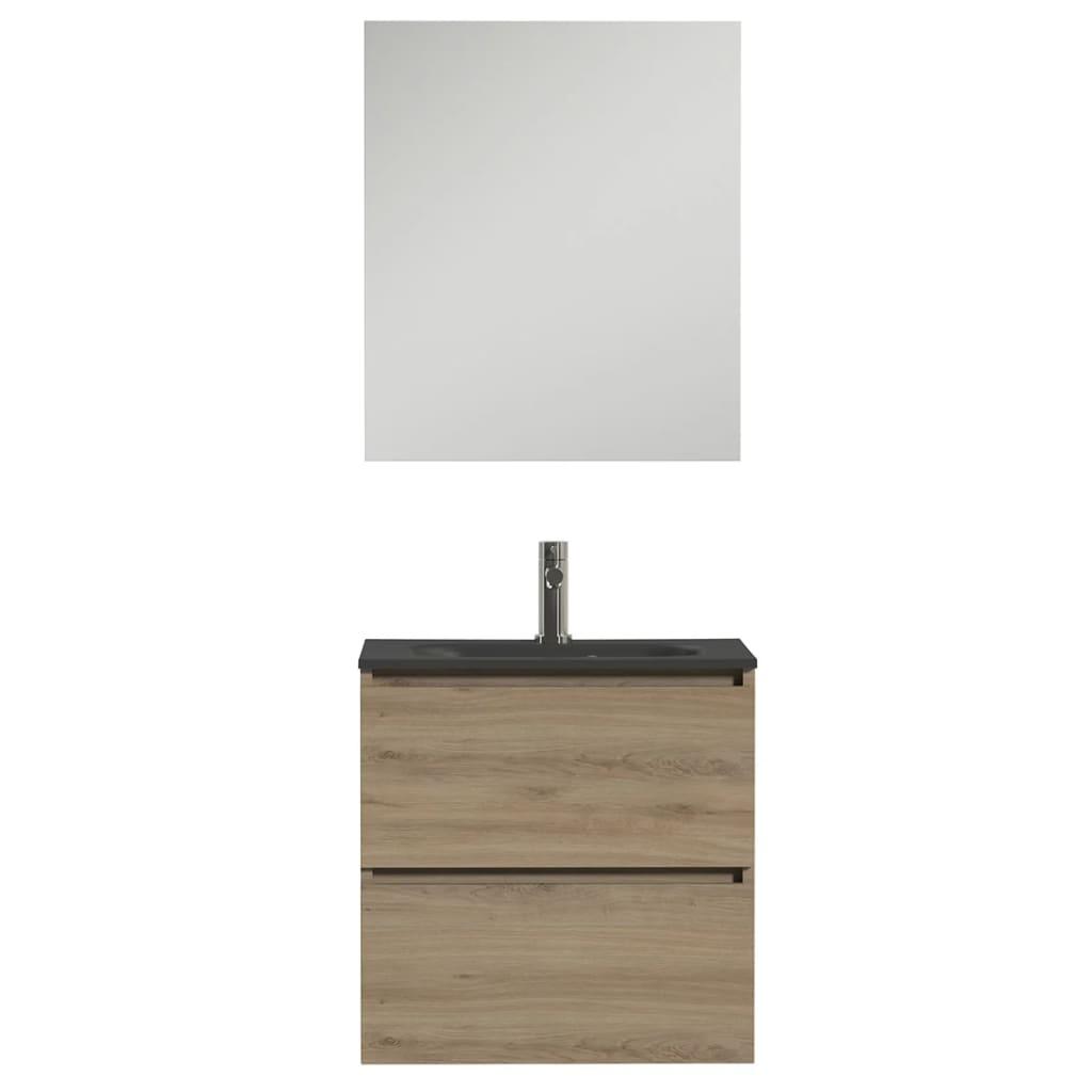 Afbeelding van Tiger Badkamer meubelset Loft 60 cm eikenhout zwart 1644413200