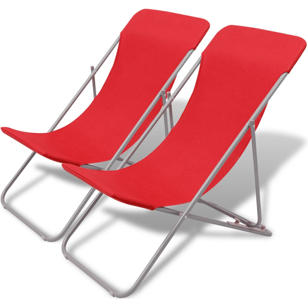 Acheter vidaxl chaise de plage pliable 2 pcs rouge pas for Chaise pliable