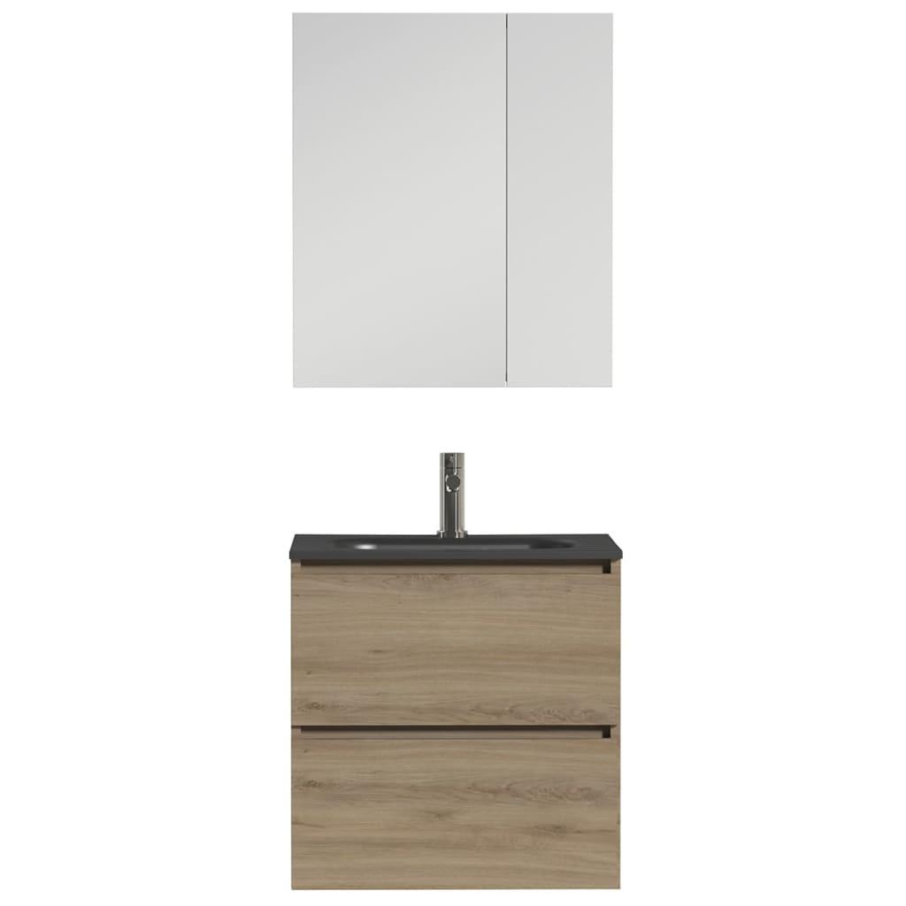 Afbeelding van Tiger Badkamer meubelset Loft 60 cm eikenhout zwart 1644413202
