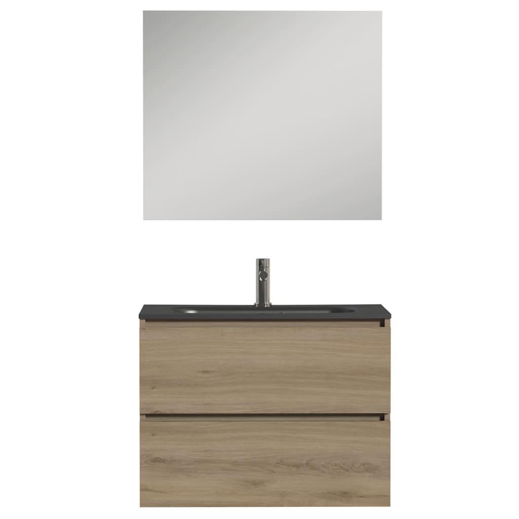 Afbeelding van Tiger Badkamer meubelset Loft 80 cm eikenhout zwart 1644423200