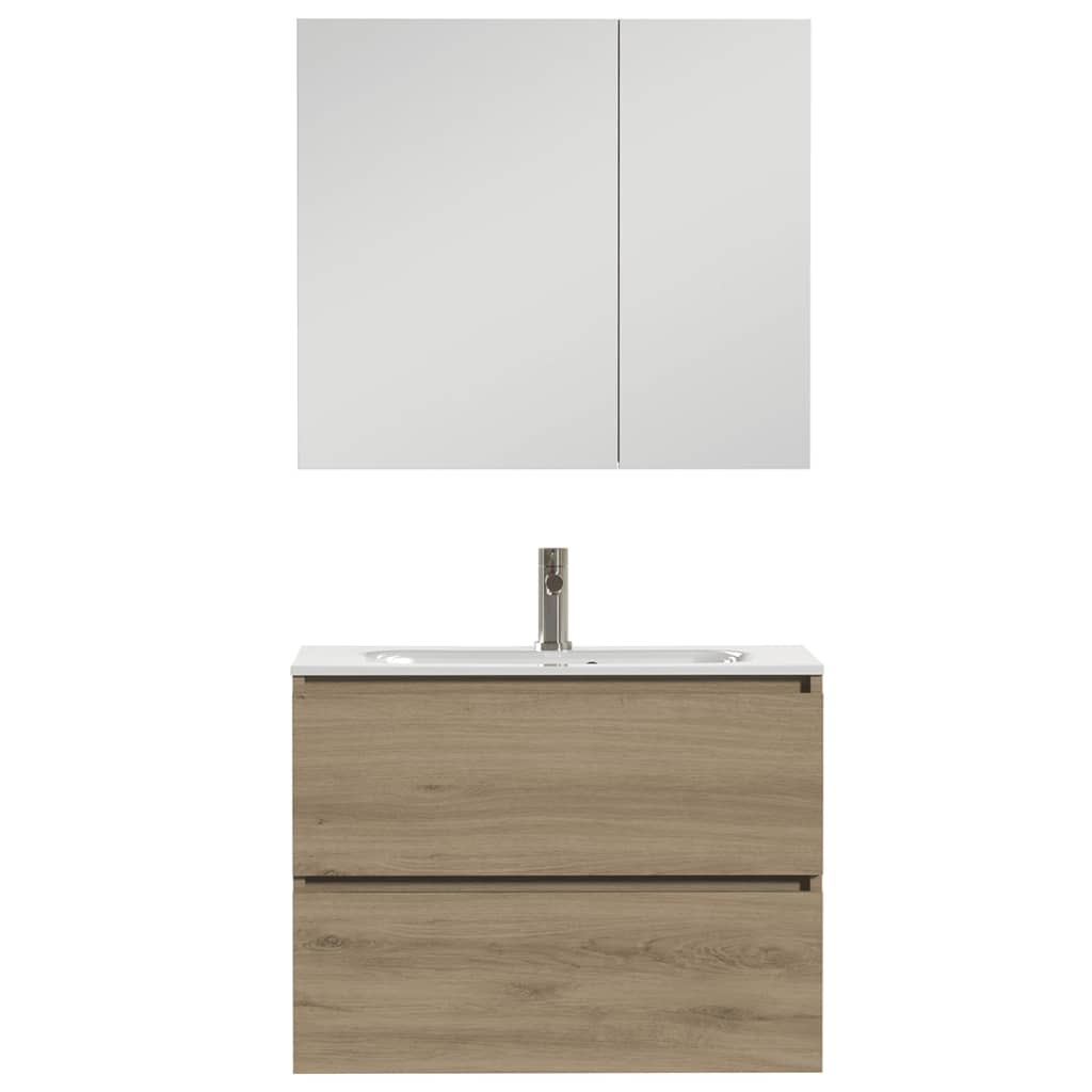 Afbeelding van Tiger Badkamer meubelset Loft 80 cm eikenhout wit 1644323202
