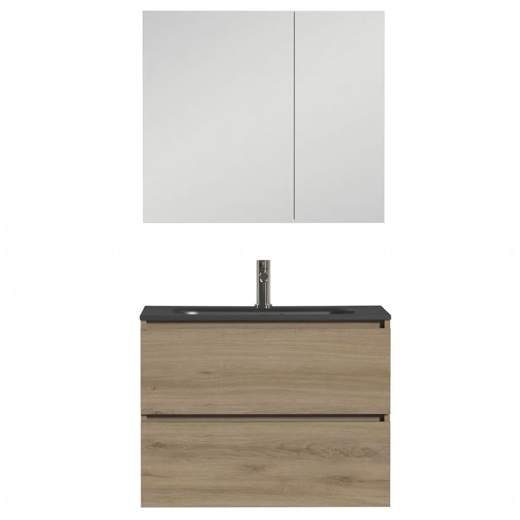 Tiger Zestaw mebli łazienkowych Loft, 80 cm, czarny dąb, 1644423202