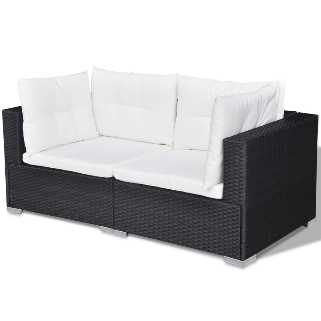 vidaxl tuinset poly rattan zwart 32 delig online kopen. Black Bedroom Furniture Sets. Home Design Ideas