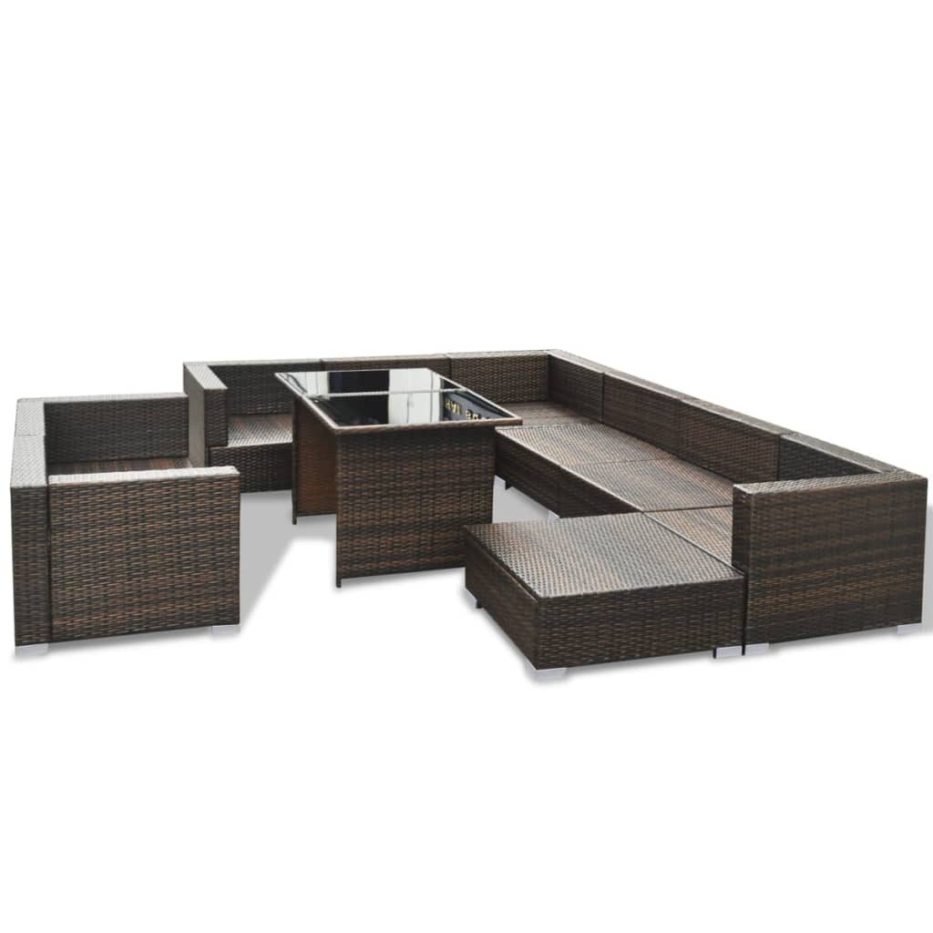 vidaxl 28 piece dining lounge set brown poly rattan. Black Bedroom Furniture Sets. Home Design Ideas