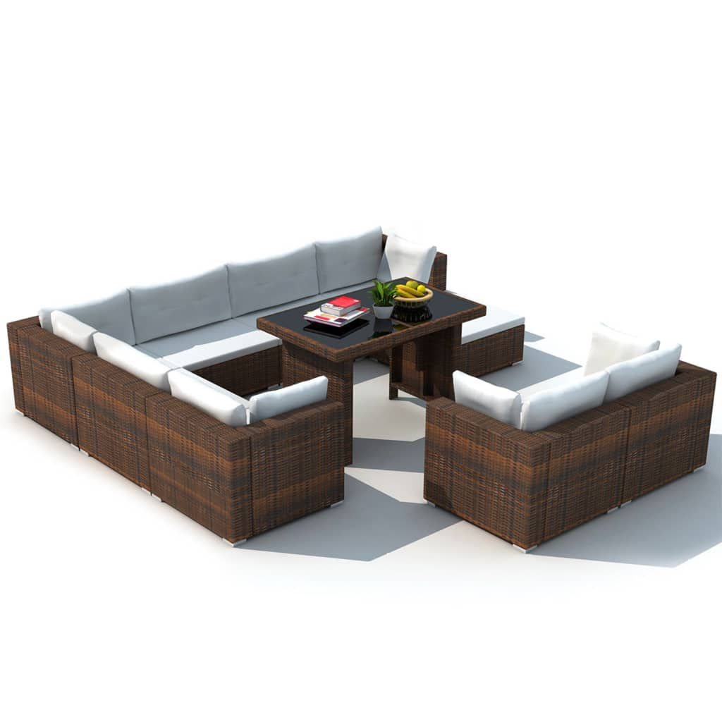 vidaxl 28 tlg essgruppe lounge set braun poly rattan g nstig kaufen. Black Bedroom Furniture Sets. Home Design Ideas