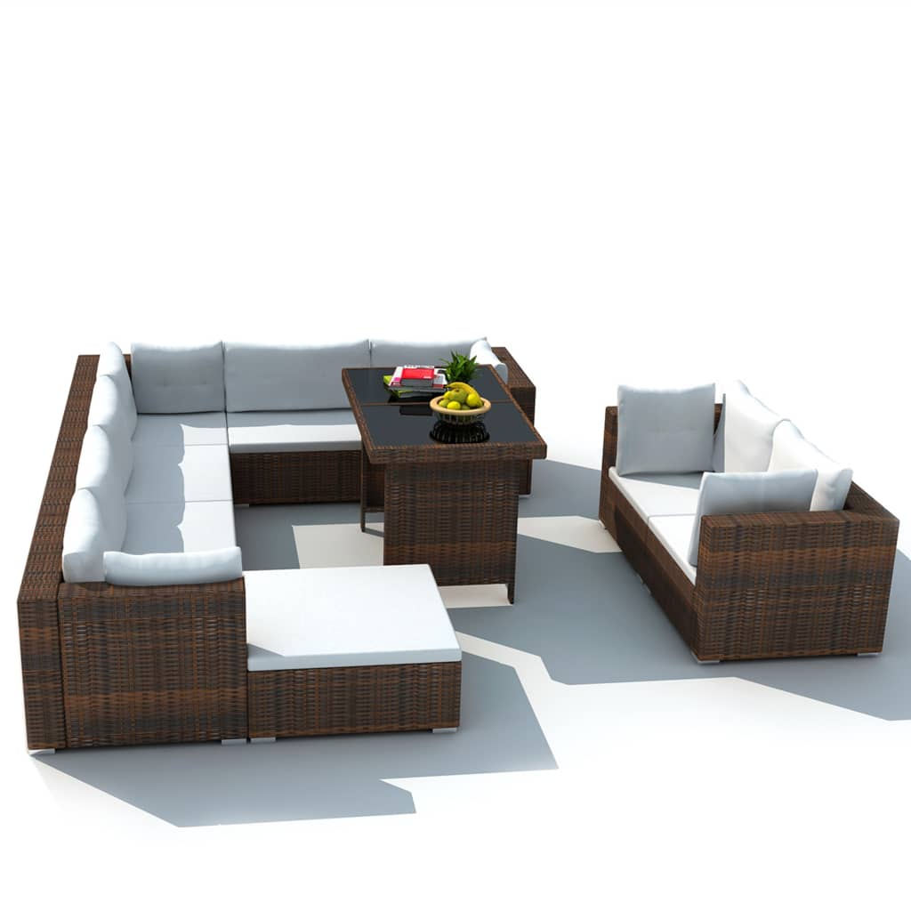Acheter vidaxl mobilier de jardin avec 28 pi ces marron rotin pas cher for Meuble de jardin seconde main