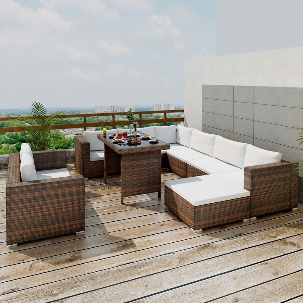 Rattan lounge braun  Outdoor Furniture Sets | vidaXL.com