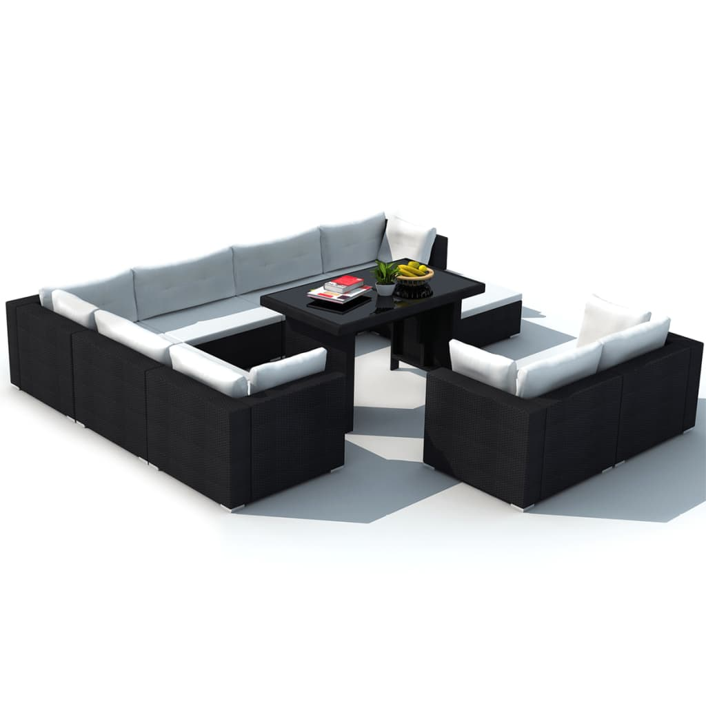 vidaXL 28 Piece Dining Lounge Set Black Poly Rattan ...