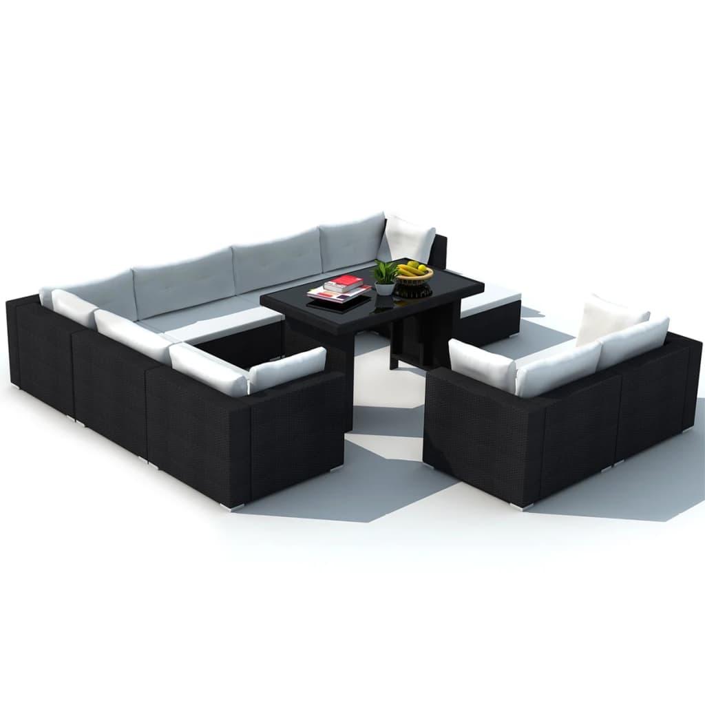 Komplett Neu vidaXL 28 Piece Dining Lounge Set Black Poly Rattan | vidaXL.com NM21