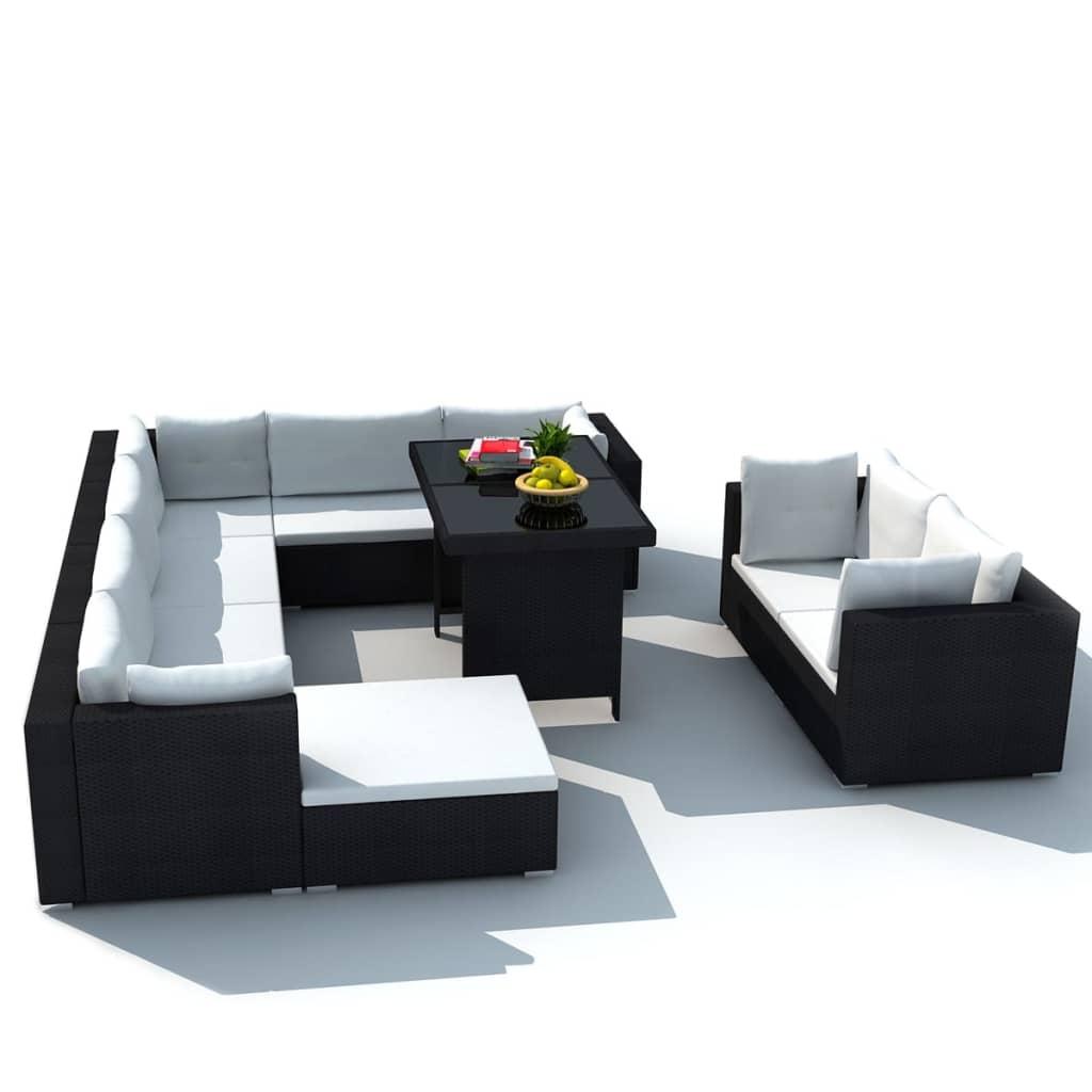 acheter vidaxl mobilier de jardin avec 28 pi ces noir. Black Bedroom Furniture Sets. Home Design Ideas