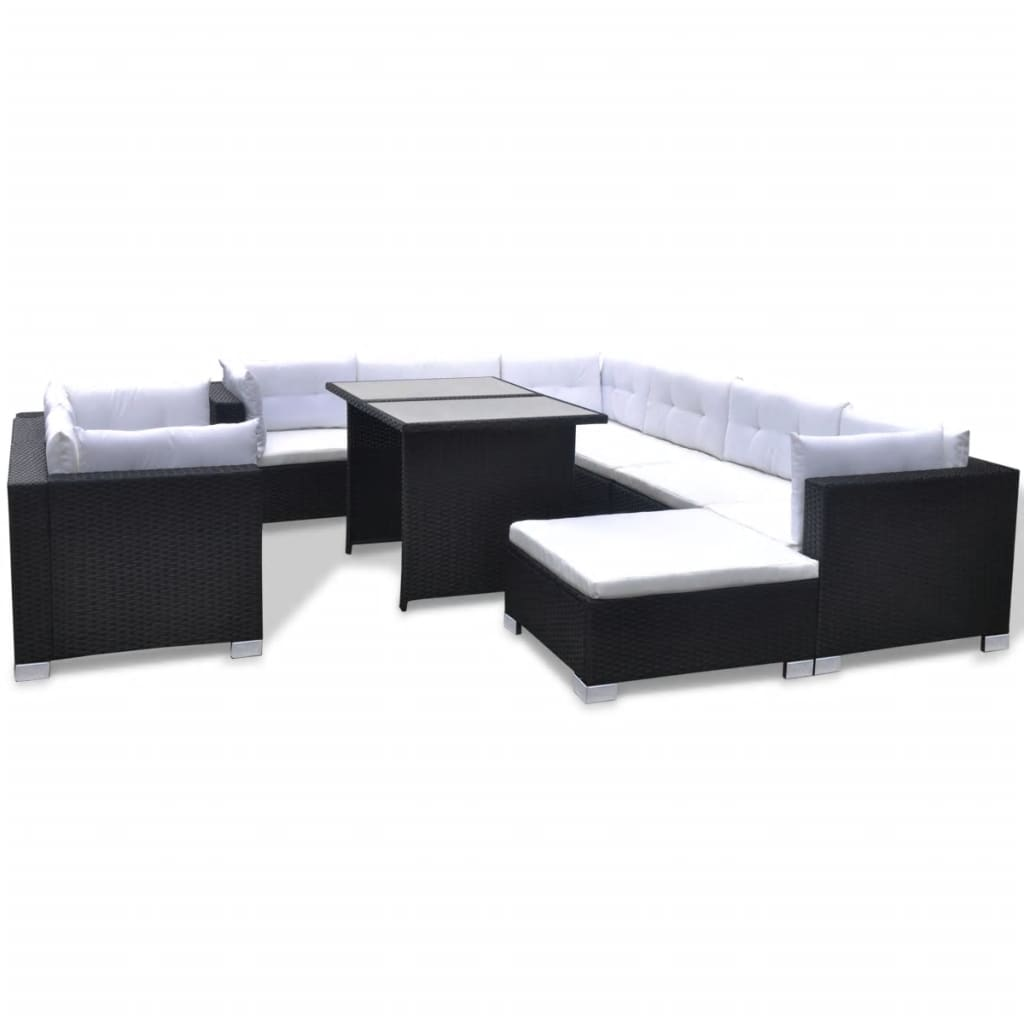 vidaxl 28 piece dining lounge set black poly rattan. Black Bedroom Furniture Sets. Home Design Ideas