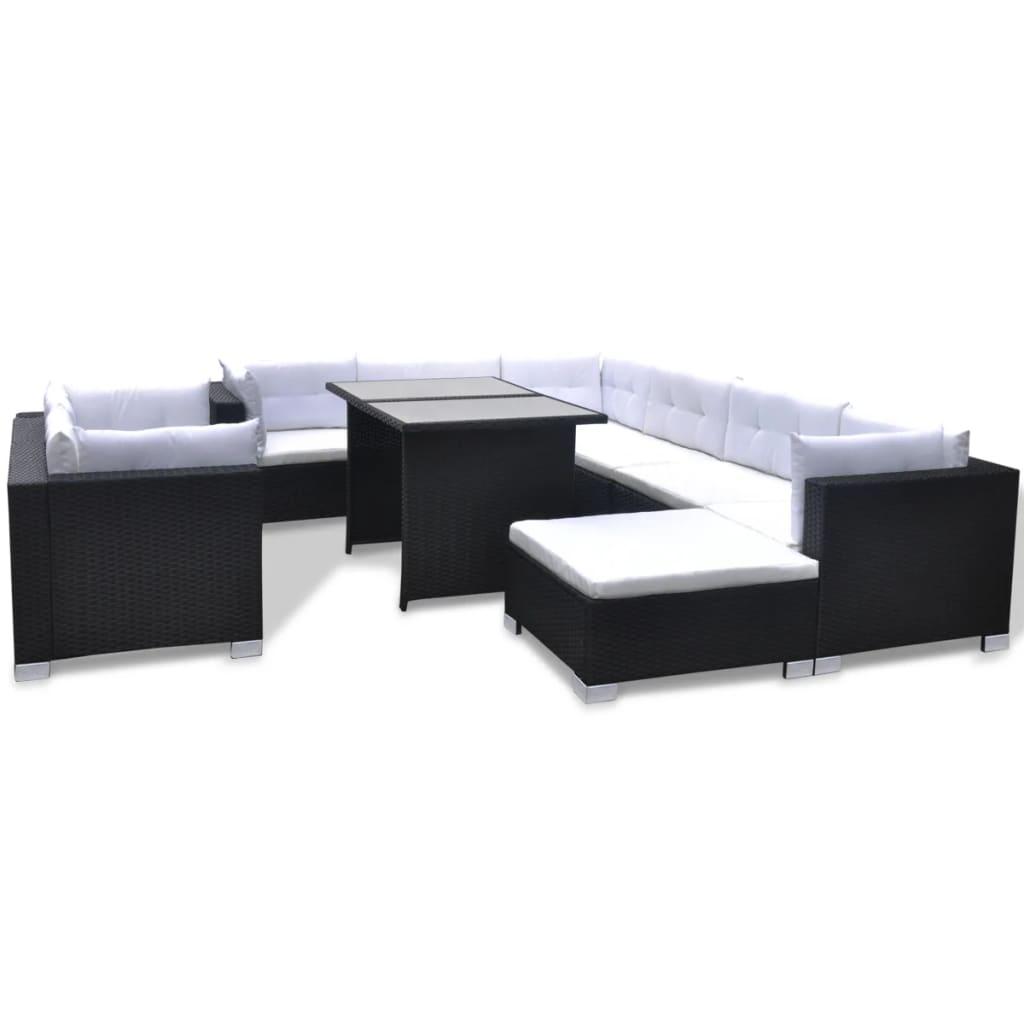 acheter vidaxl mobilier de jardin avec 28 pi ces noir rotin pas cher. Black Bedroom Furniture Sets. Home Design Ideas