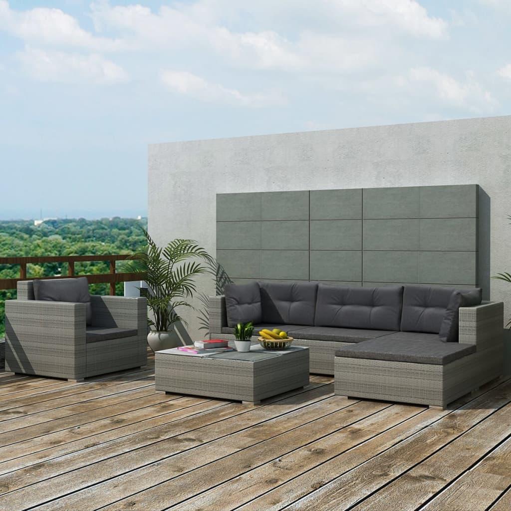 vidaXL Conjunto de Muebles de Jardín Exterior 17 Piezas de Poli ...