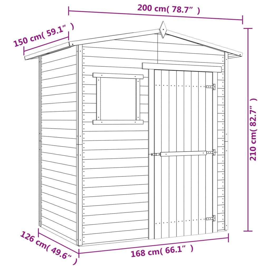 Acheter vidaxl abri de jardin en bois de pin impr gn 1 5 for Acheter abris de jardin