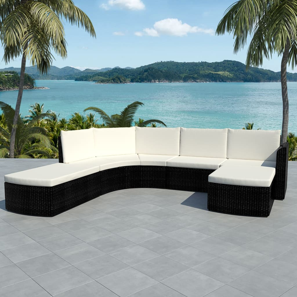 Vidaxl 16 Piece Garden Sofa Set Poly Rattan Black