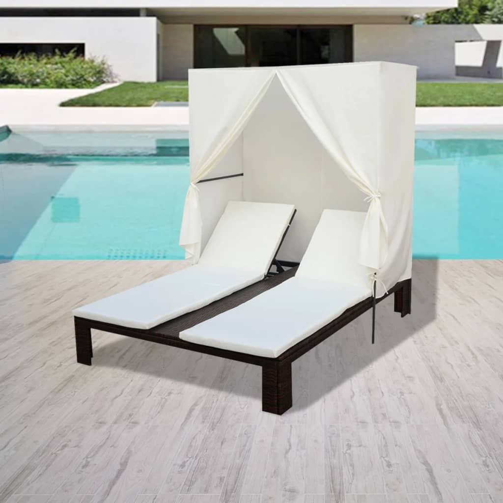 vidaxl sonnenliege poly rattan doppelliege gartenliege loungeliege gartenm bel ebay. Black Bedroom Furniture Sets. Home Design Ideas