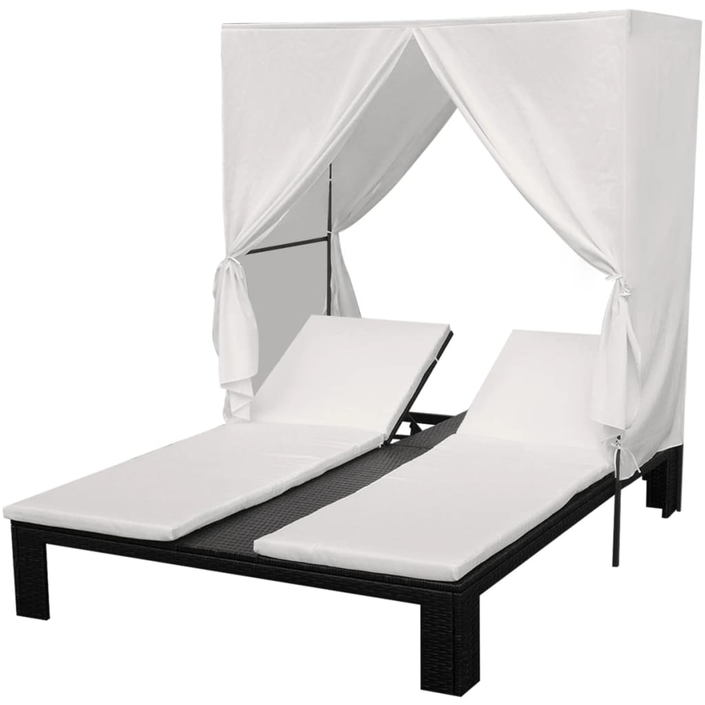 acheter vidaxl chaise longue rotin poly noir pas cher. Black Bedroom Furniture Sets. Home Design Ideas