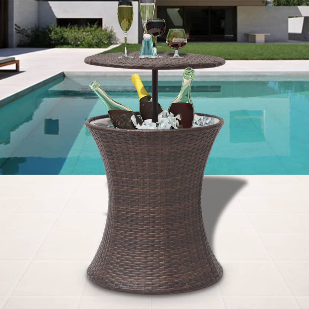 Ice-Drink-Cooler-Bucket-Party-Coffee-Table-Bar-Waterproof-Poly-Rattan-Brown