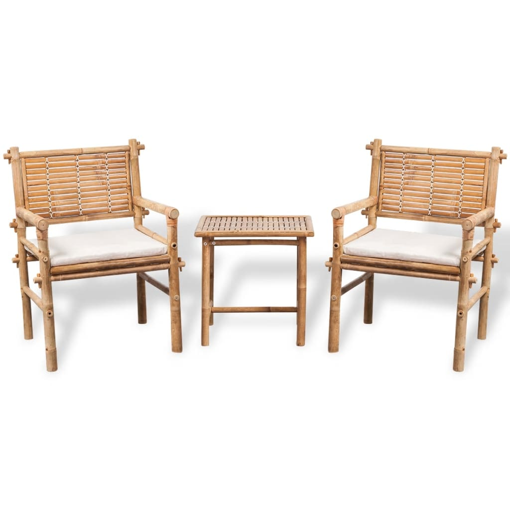 Vidaxl five piece garden furniture set bamboo for Bamboo patio furniture