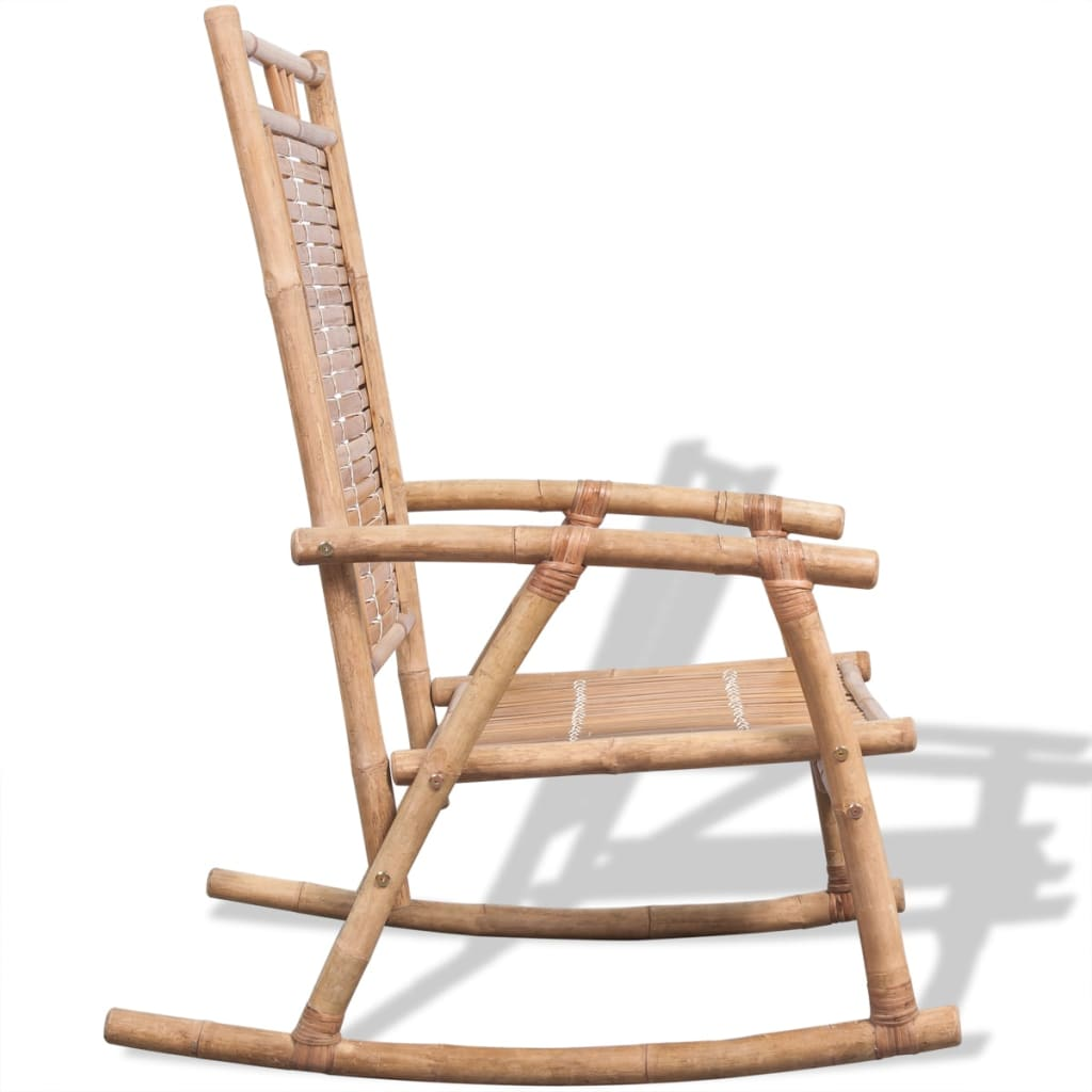 Vidaxl silla mecedora de bamb - Sillas de bambu ...
