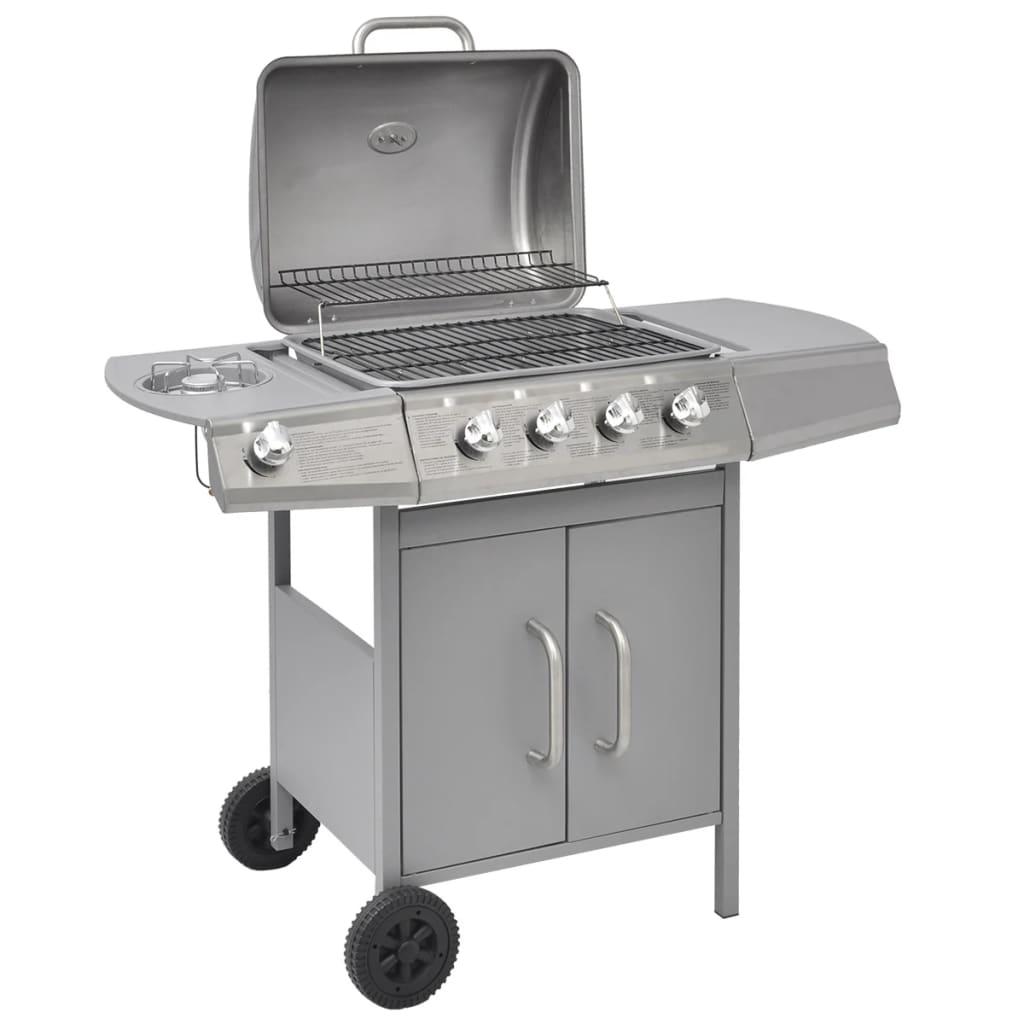 vidaXL barbecue grill à gaz 4+1 foyers argenté