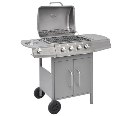 vidaXL Gasbarbecue grill 4 + 1 branders zilver
