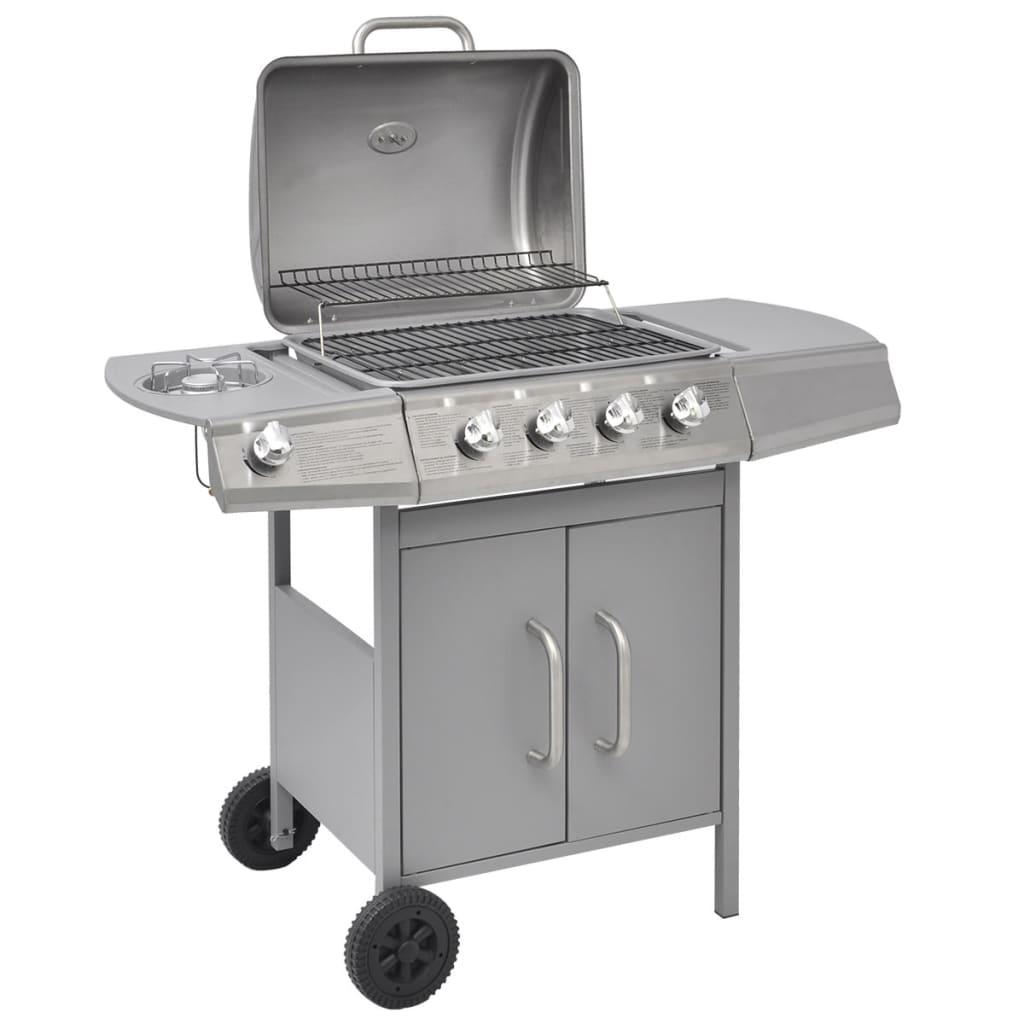 vidaXL Gasbarbecue 4+1 branders zilver