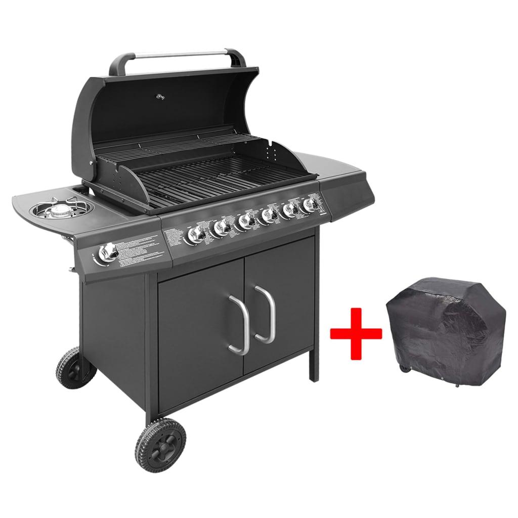 vidaxl gas barbecue grill 6 1 burners black. Black Bedroom Furniture Sets. Home Design Ideas