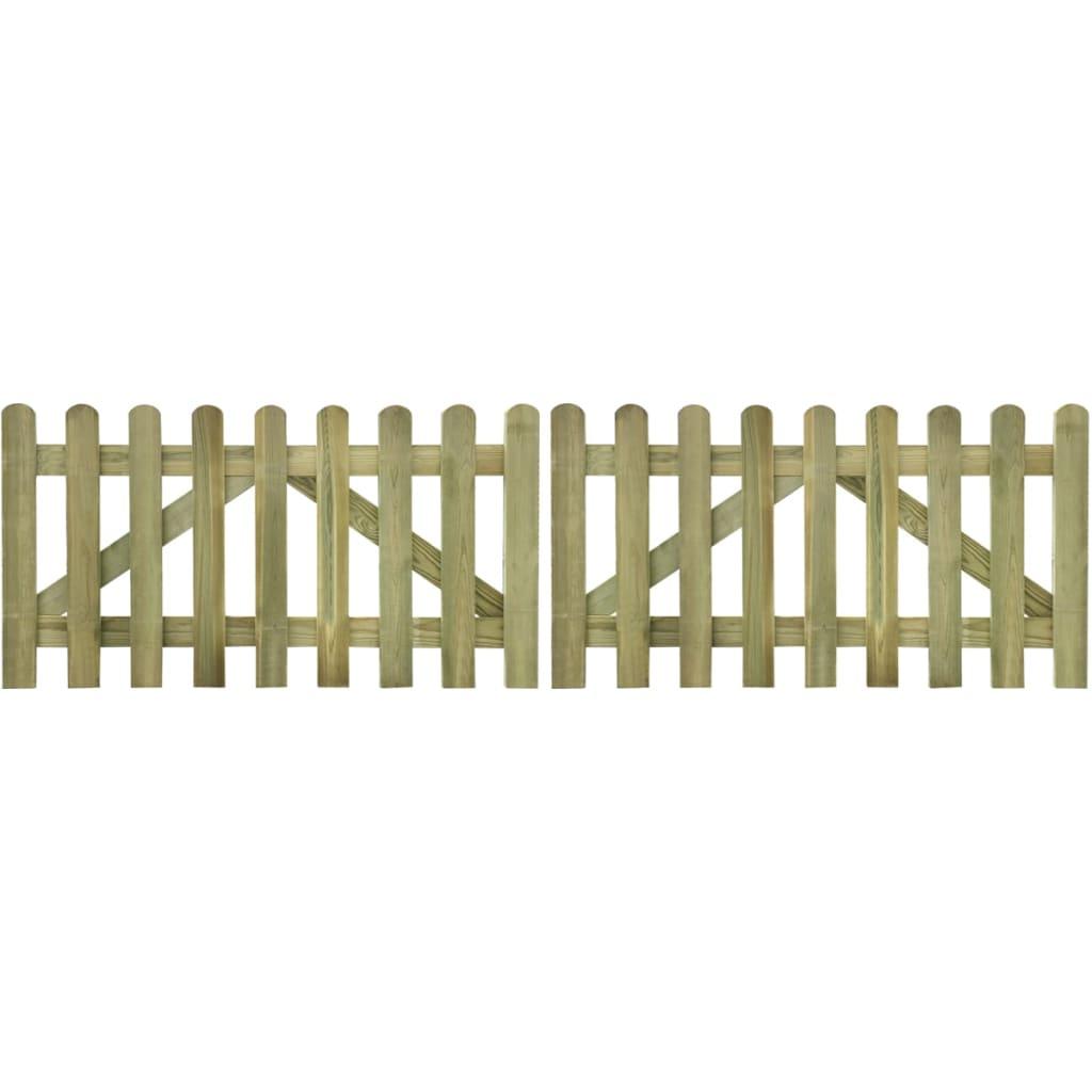vidaXL 2 db impregnált fa kerítés kapu 300 x 80 cm