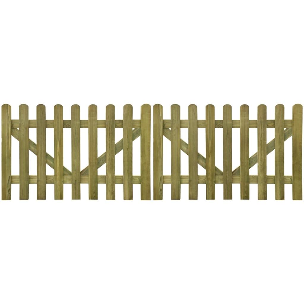 vidaXL 2 db impregnált fa kerítés kapu 300 x 100 cm