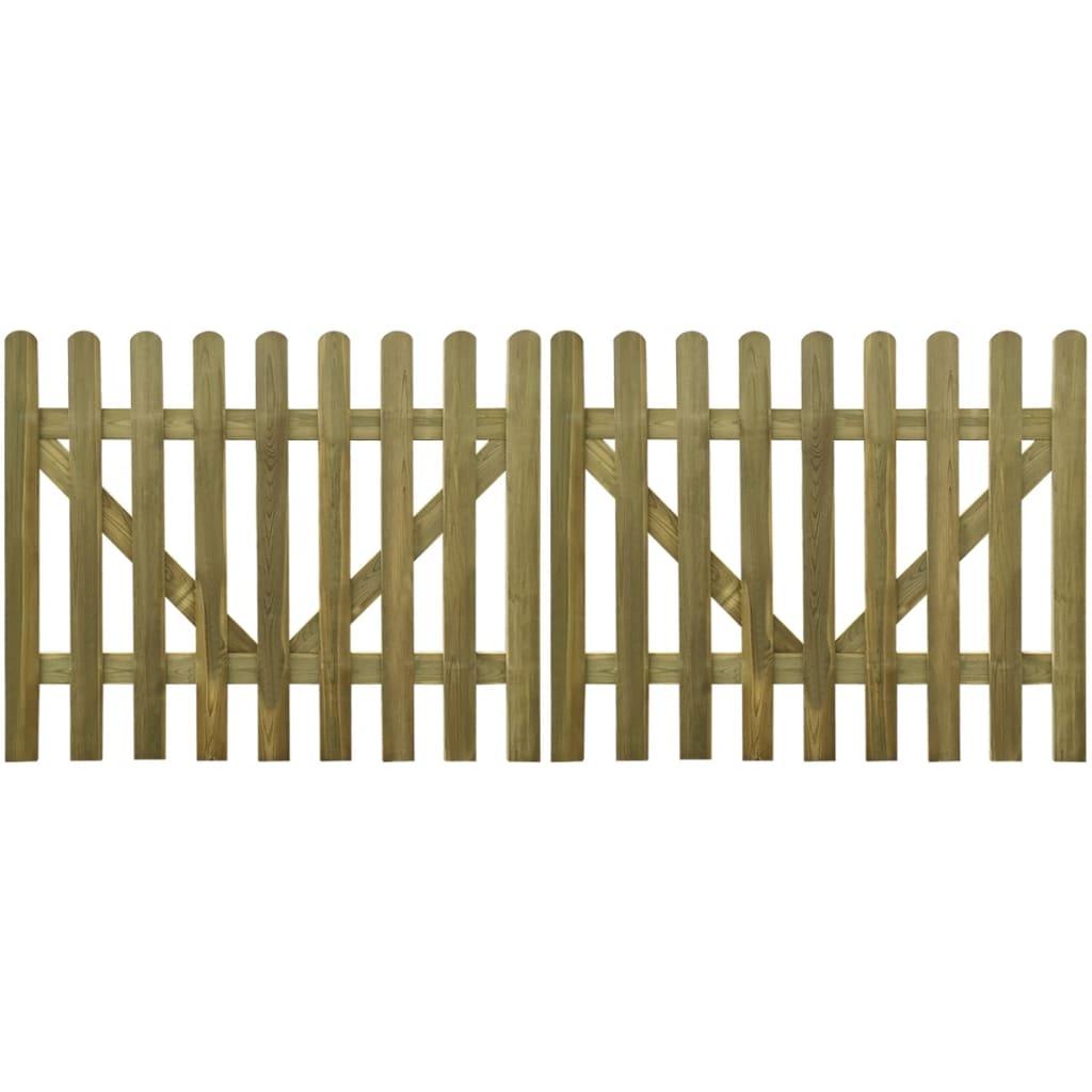 vidaXL 2 db impregnált fa kerítés kapu 300 x 120 cm
